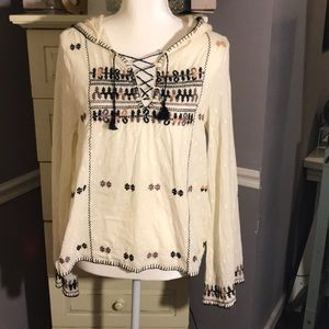 Free People Beige Embroidered Hooded Blouse XS